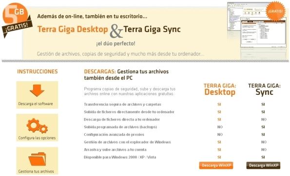Terra Giga ofrece clientes de escritorio muy útiles y eficaces